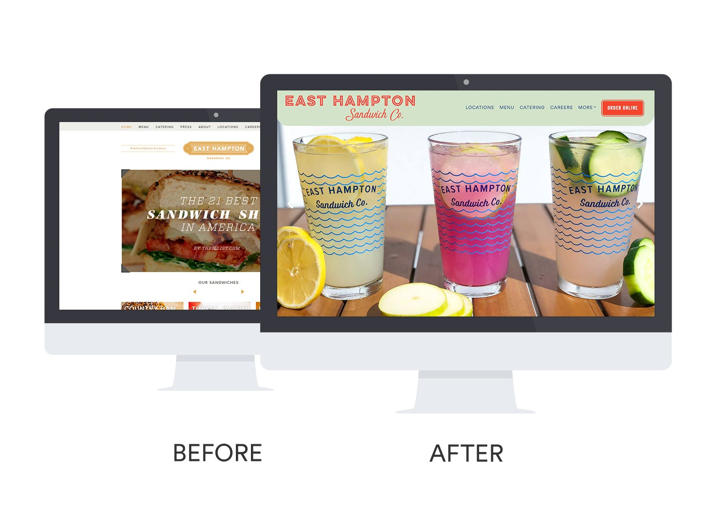 Before and after of East Hampton Sandwich Co.'s website