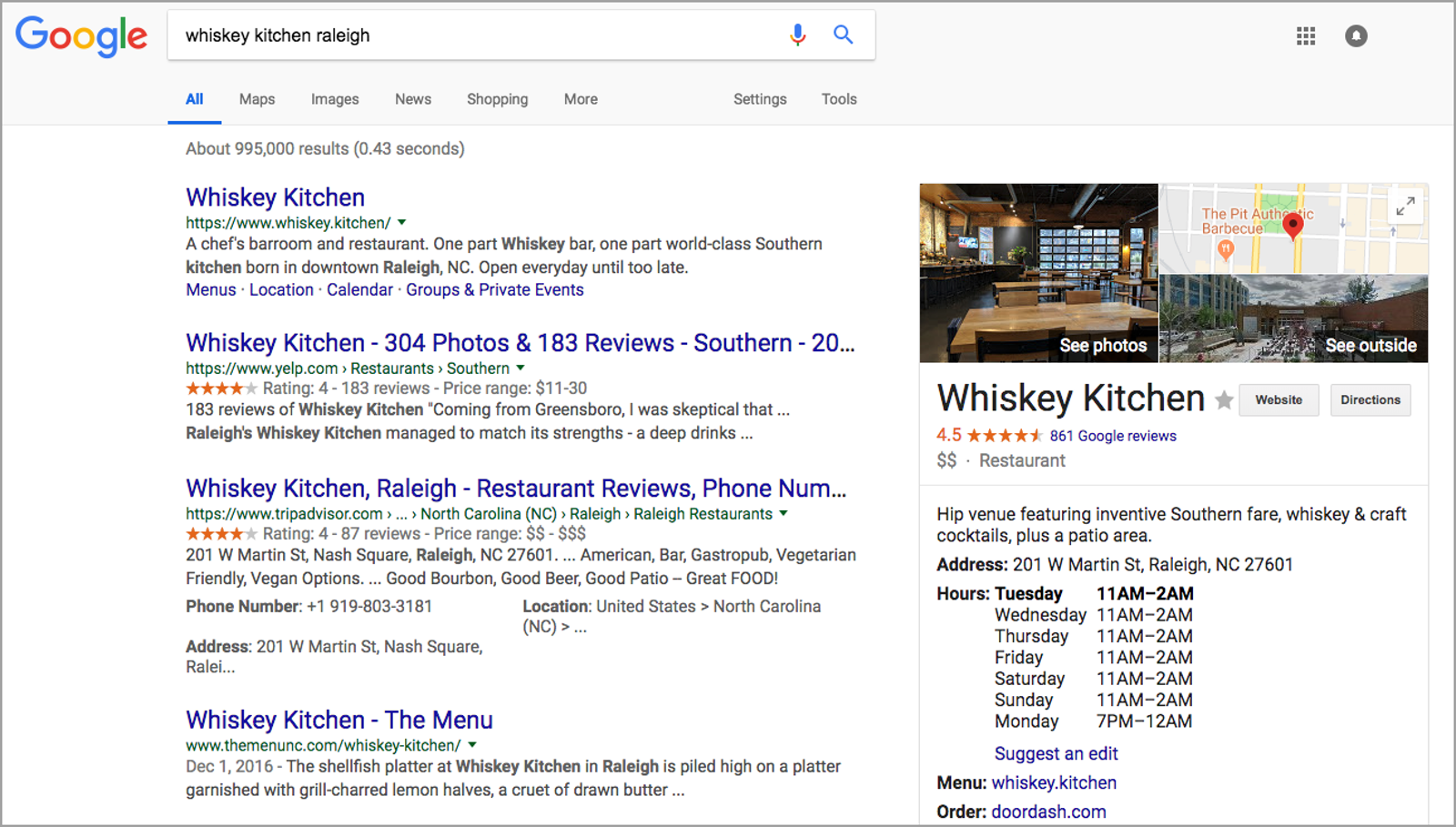 Whiskey Kitchen Google Search Screenshot