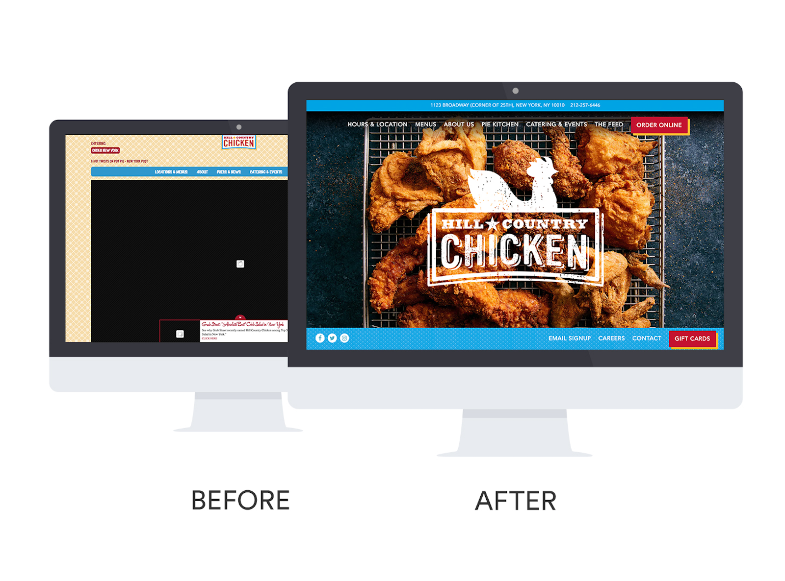 Before and after of Hill Country Chicken's website