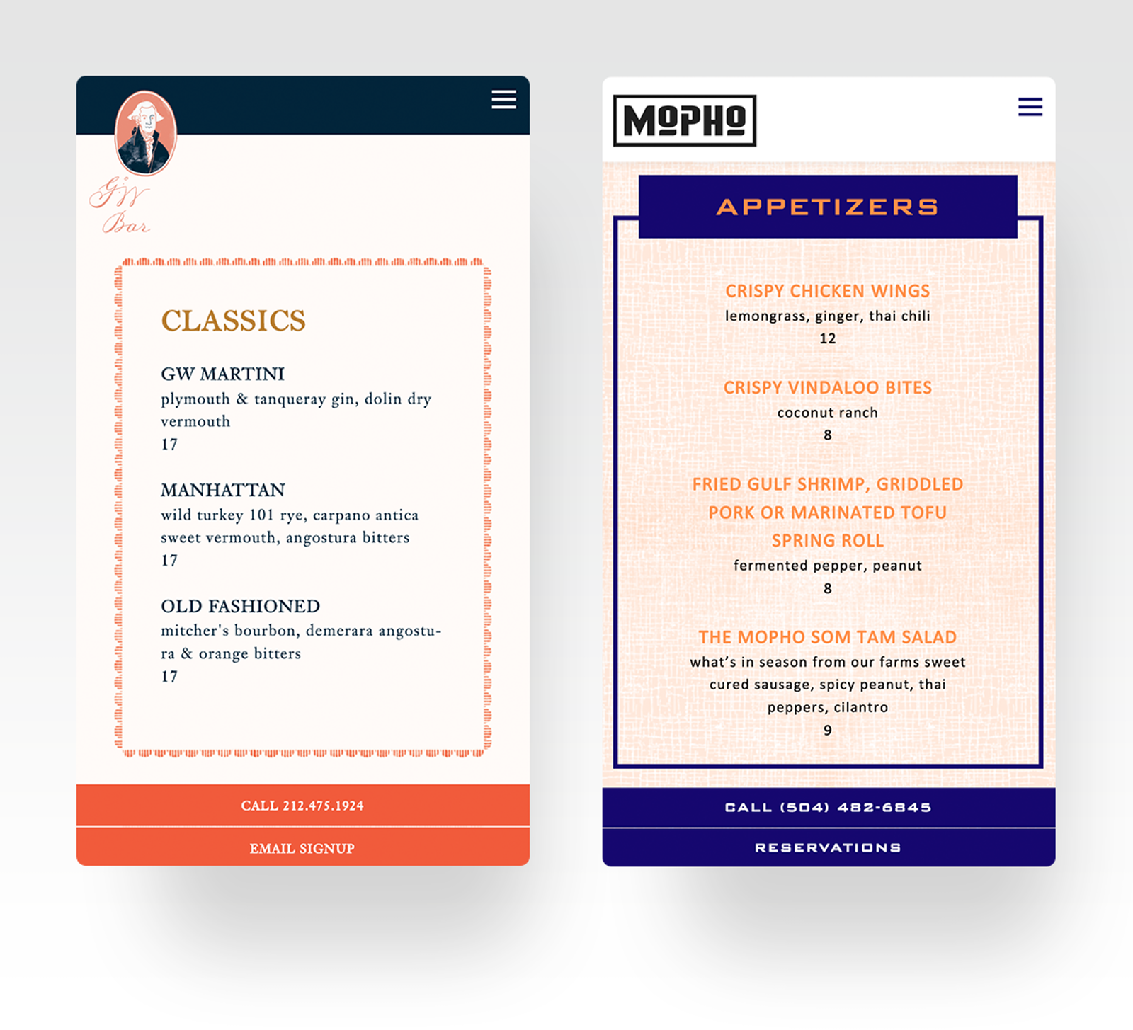 George Washington Bar & Mopho Restaurant Menu Pages