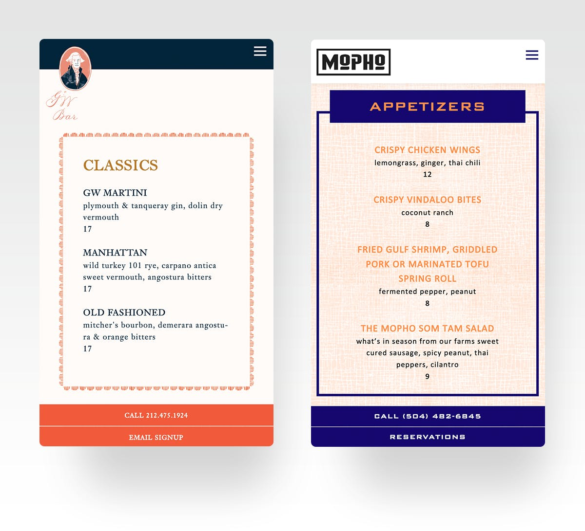 George Washington Bar & Mopho Restaurant Menu Pages