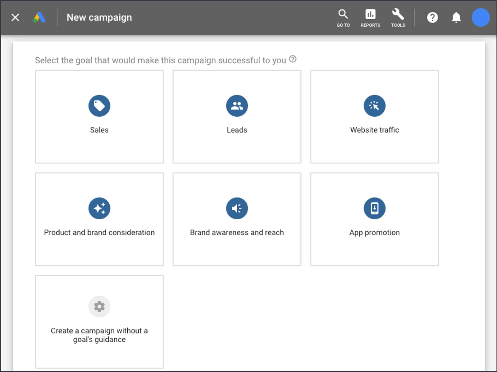 Google Ads platform dashboard