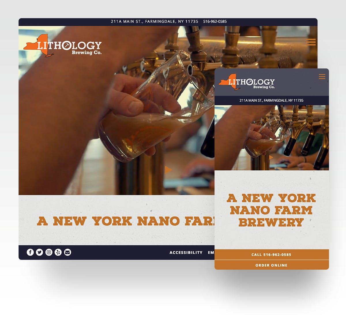 Lithology Brewing Co.'s website in desktop and mobile
