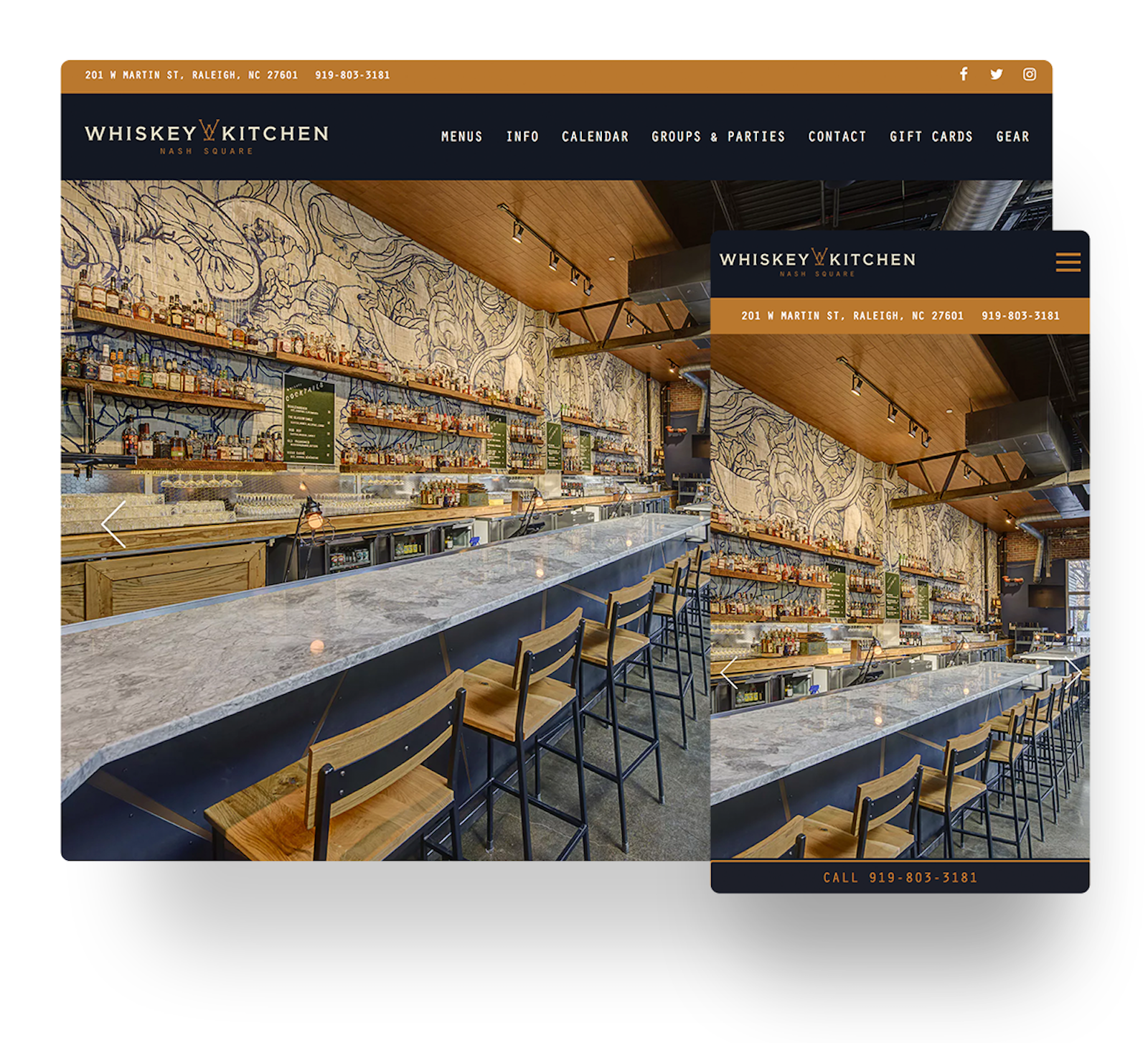 Whiskey Kitchen's website in mobile and desktop views