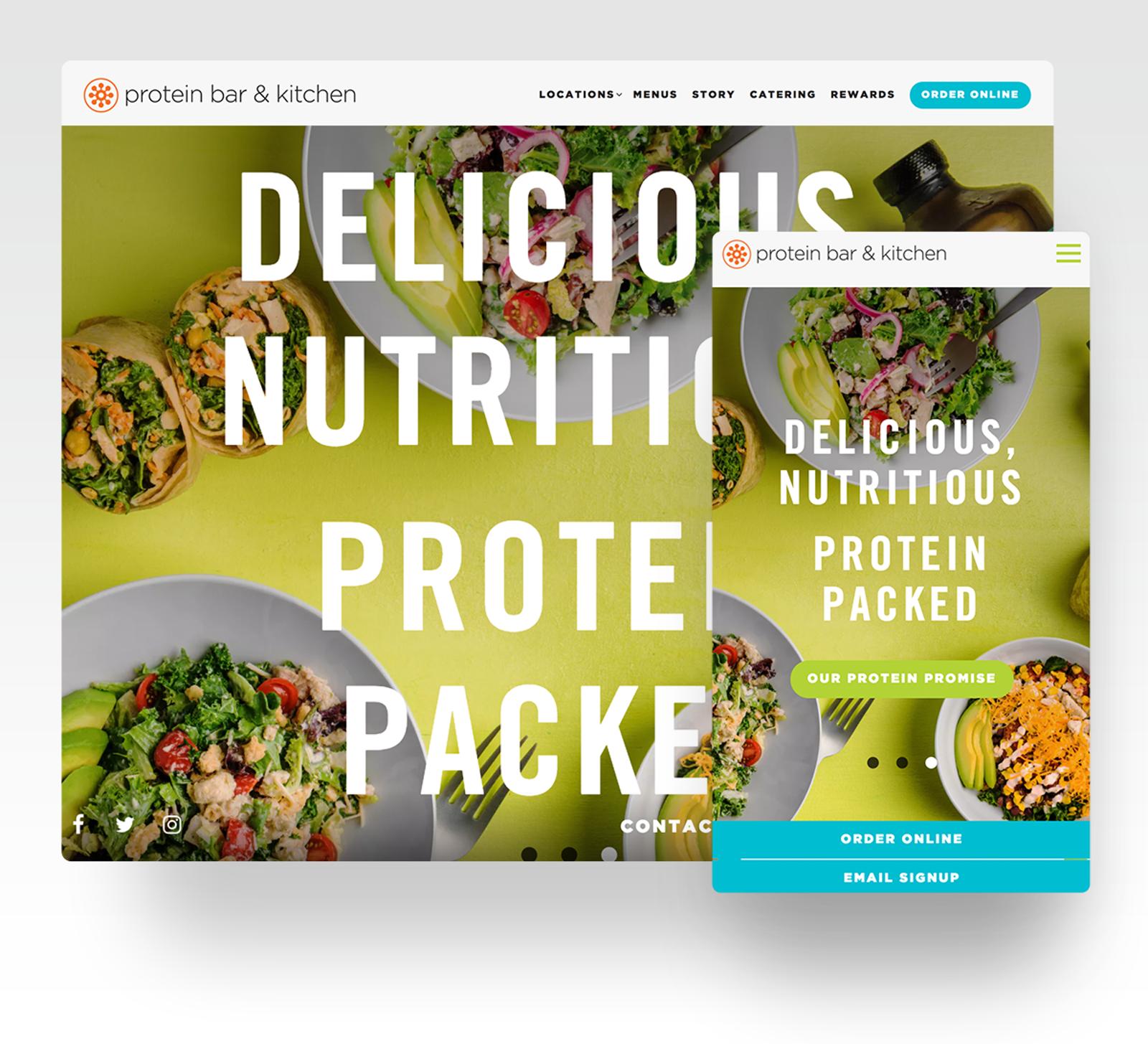 Protein Bar + Kitchen website