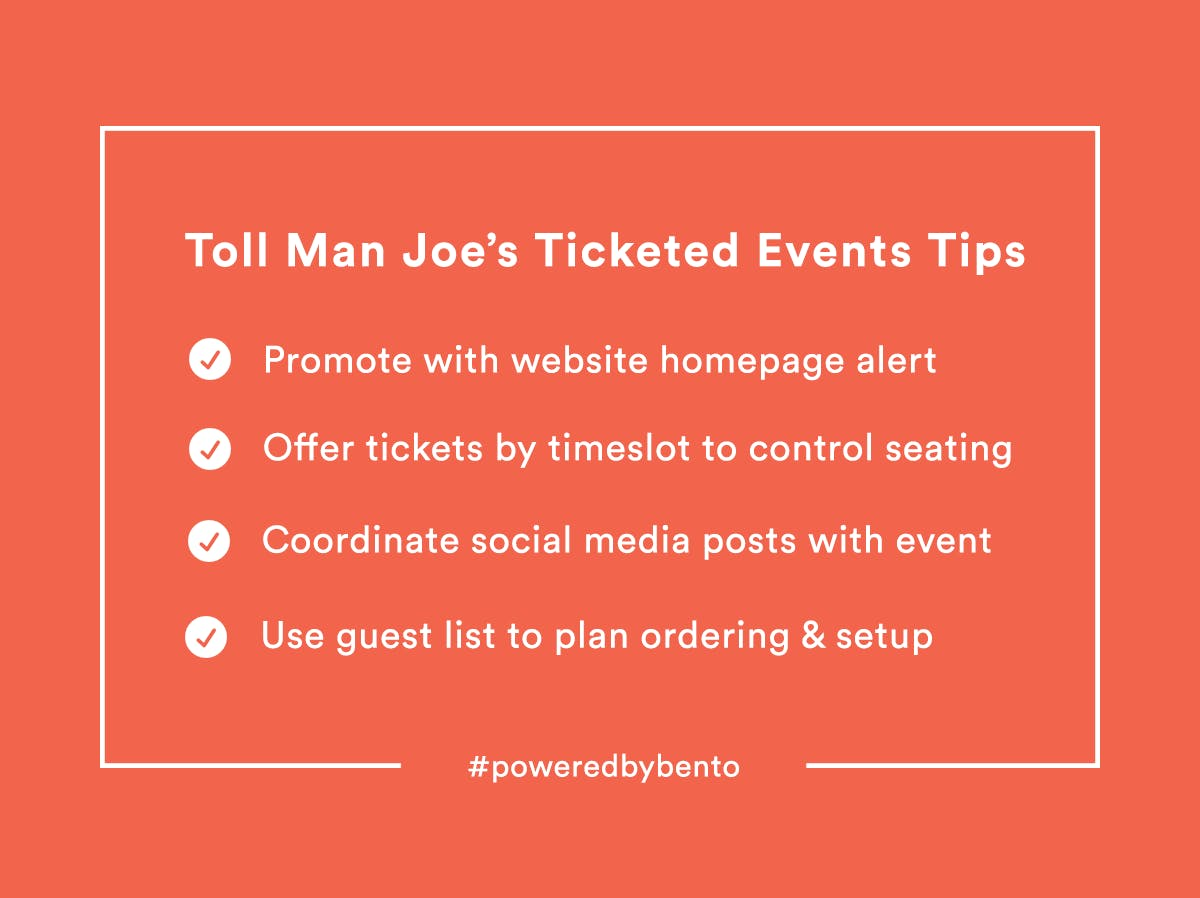 Toll Man Joe's Ticketed Events Tips