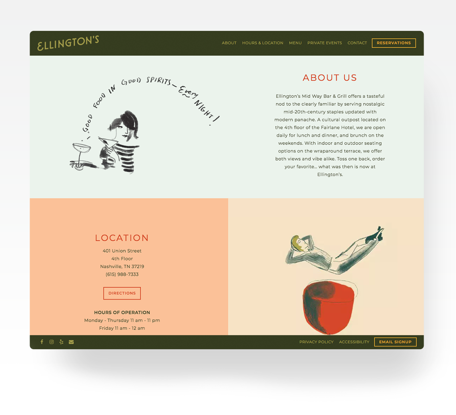 Ellington's website with illustrated accents