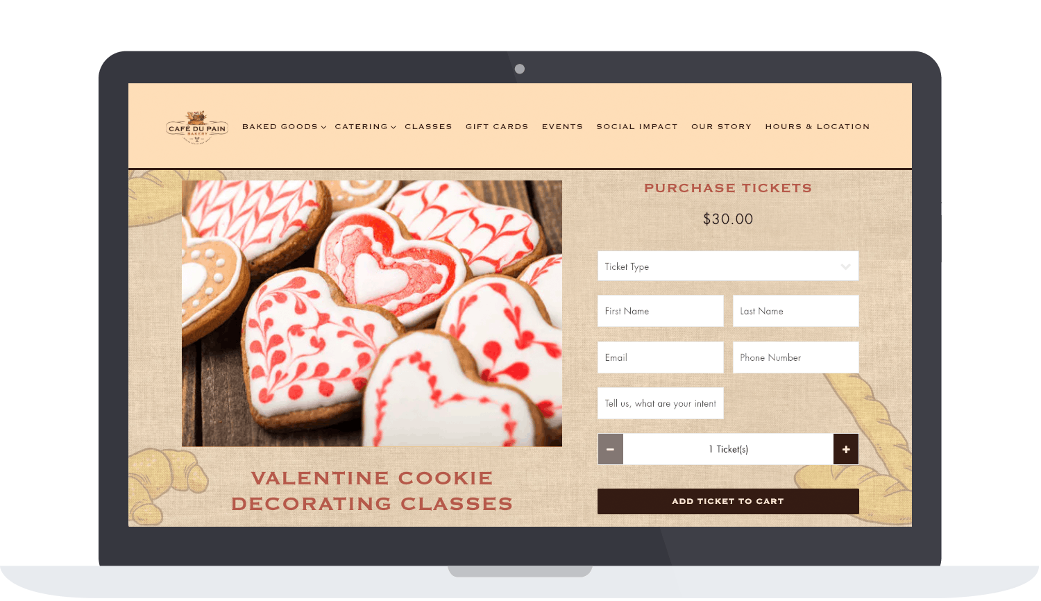 Café Du Pain's classes page on their website for their Valentine's Day cookie decorating classes, with a form that allows visitors to buy tickets