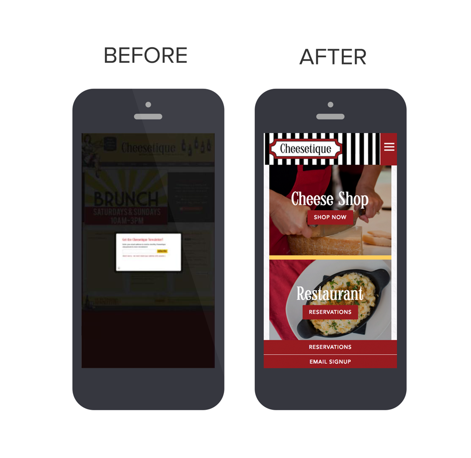 Cheestique's Website in Mobile Device: Before & After