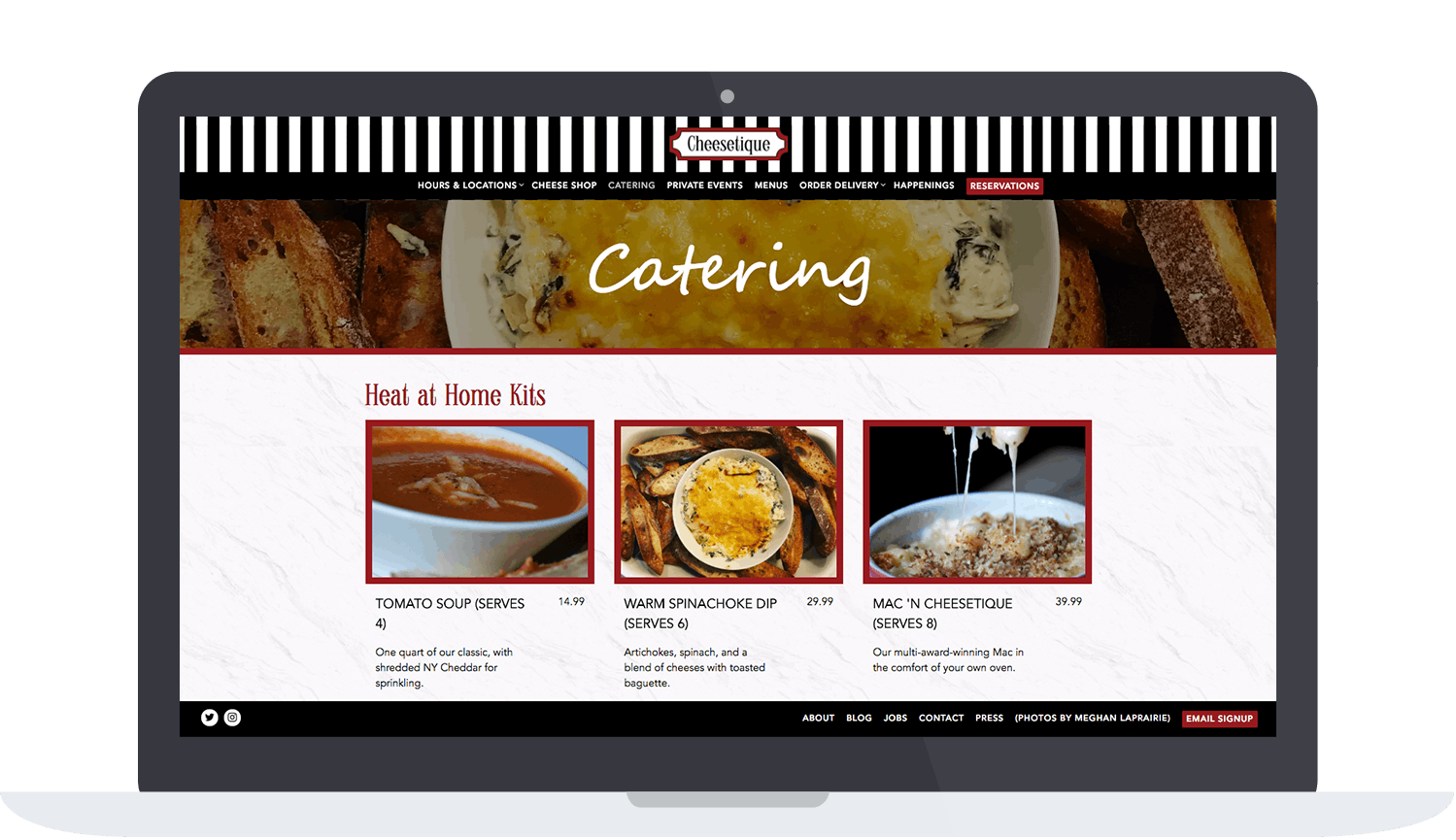 Cheesetique Website's Catering Page
