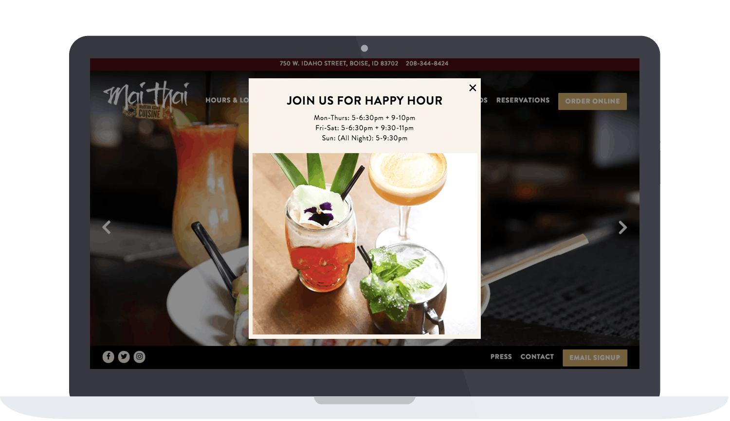 Mai Thai's happy hour pop up on website