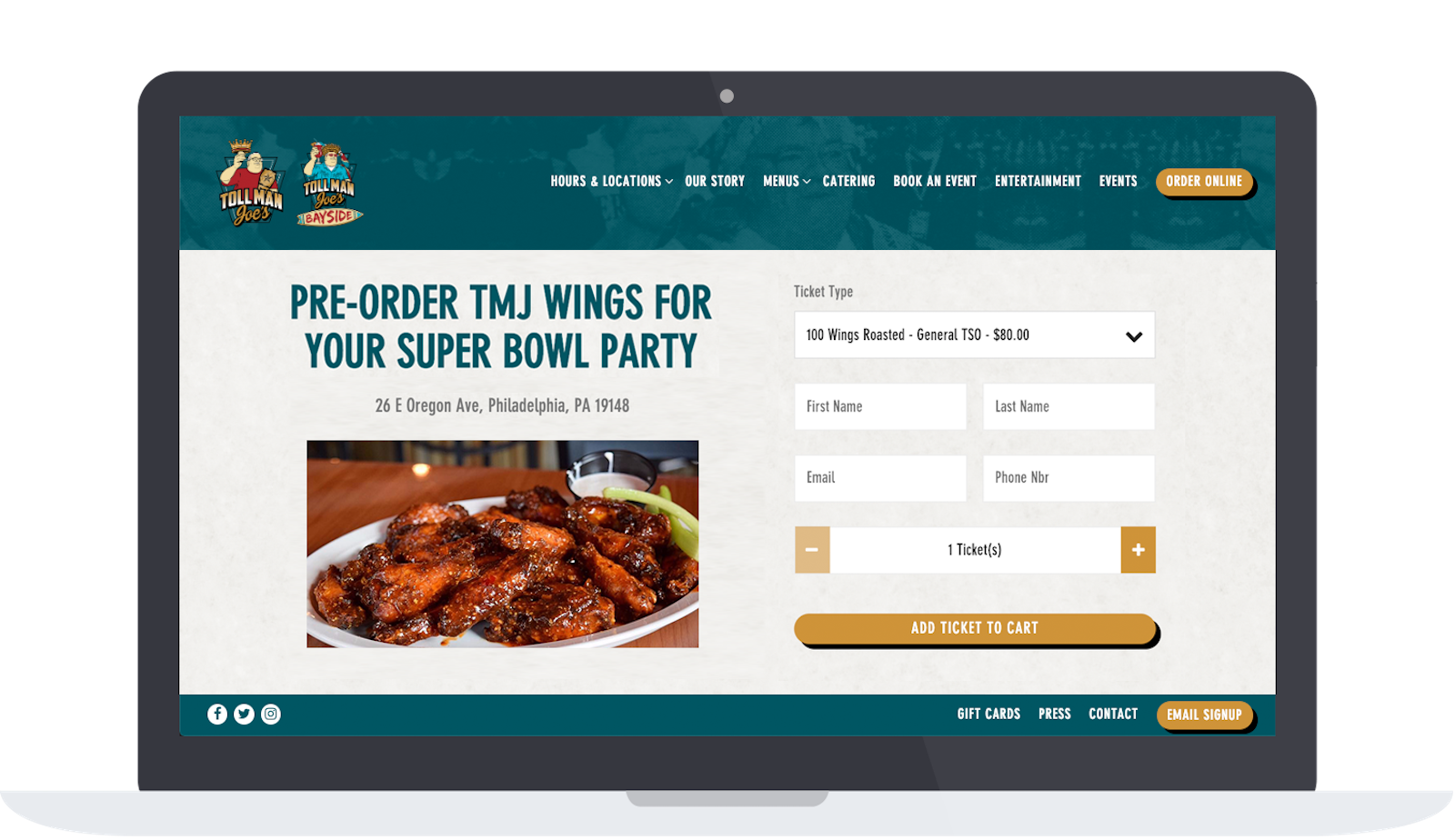 Toll Man Joe's Super Bowl wing orders on their website