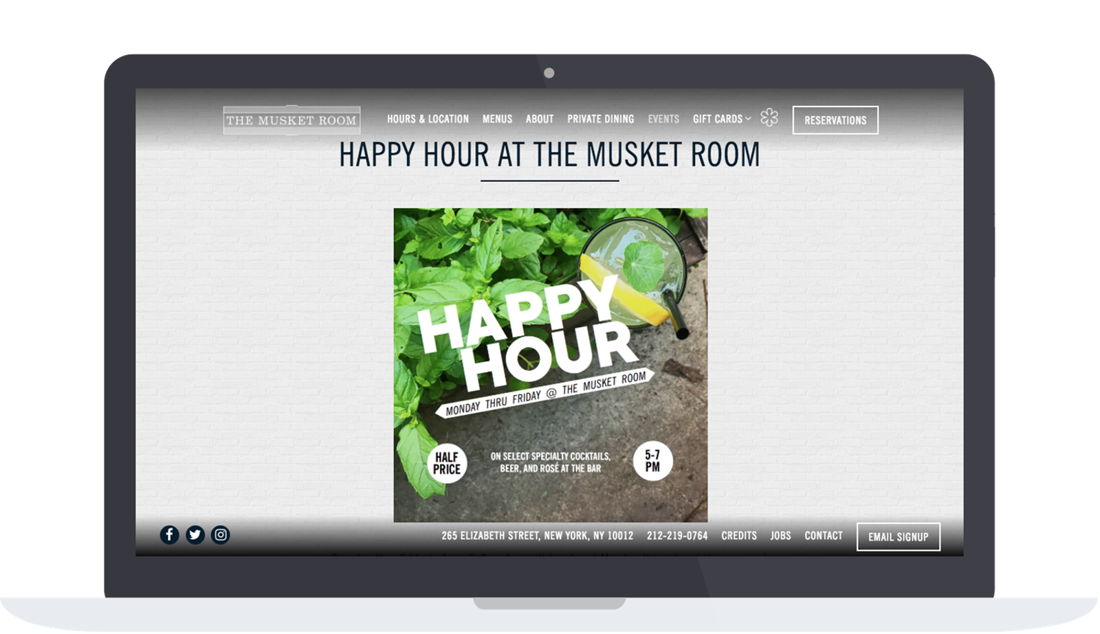 The Musket Room's website event page