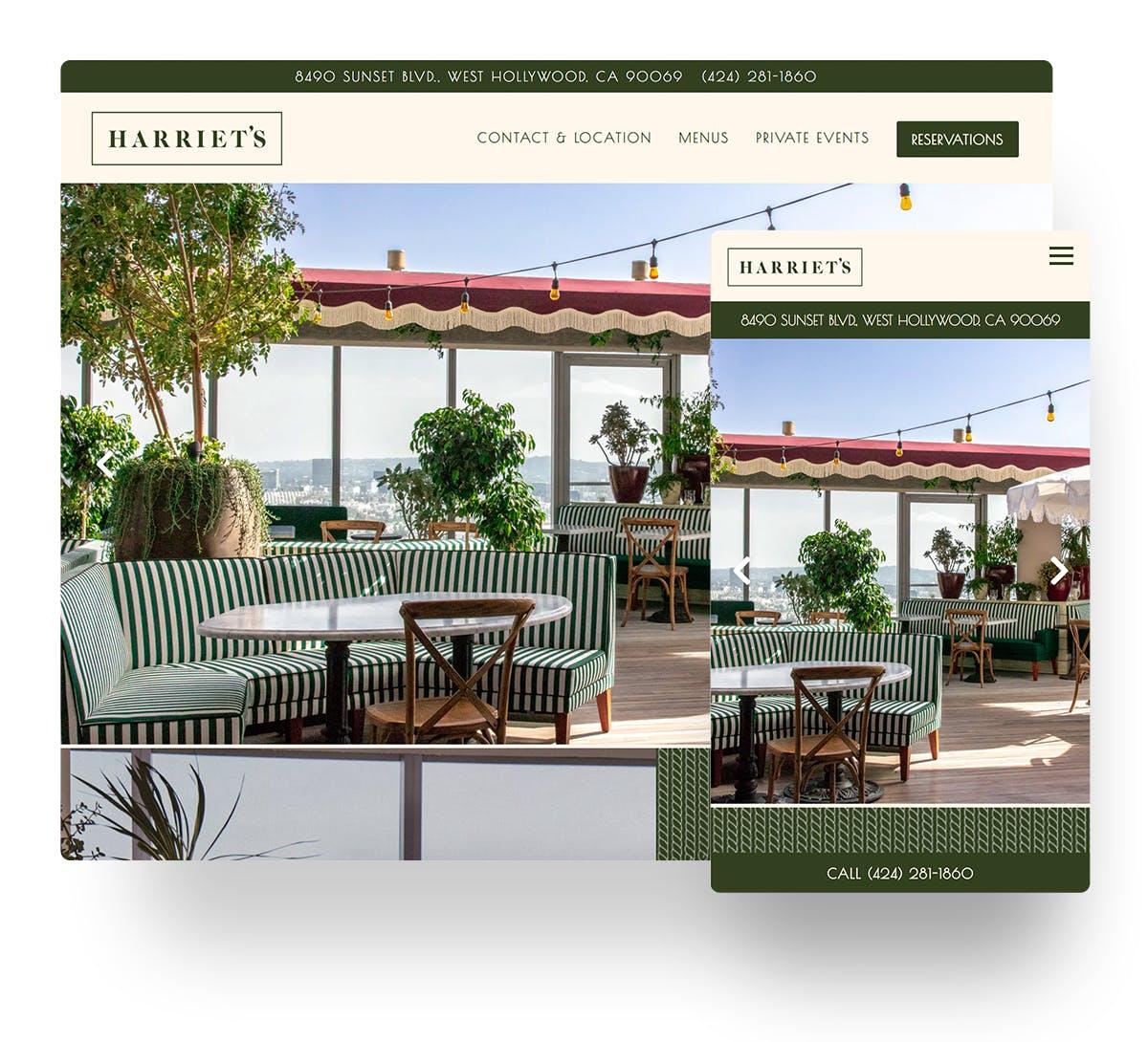 Harriet's website in mobile and desktop views
