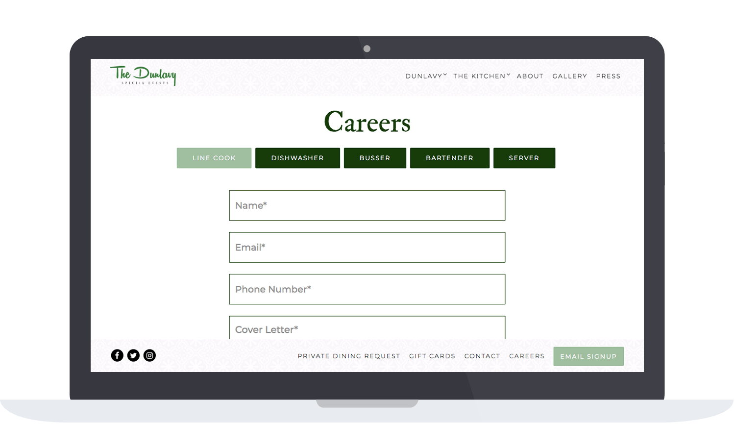 The Dunlavy's websites career page