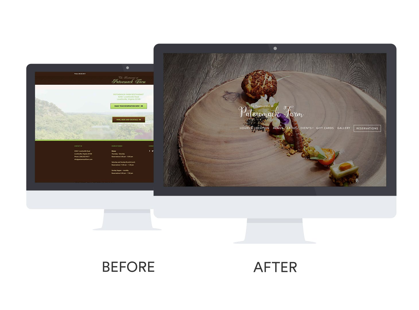 Before and after of The Restaurant at Patowmack Farm's website