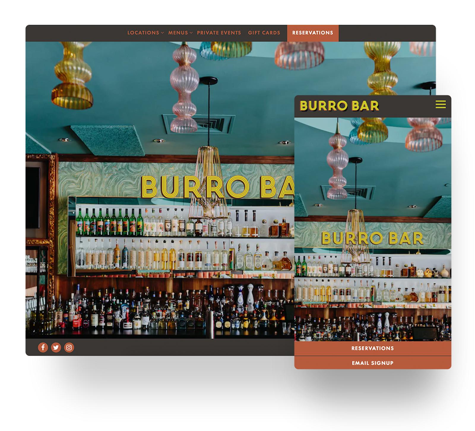 Burro Bar's website in mobile and desktop views
