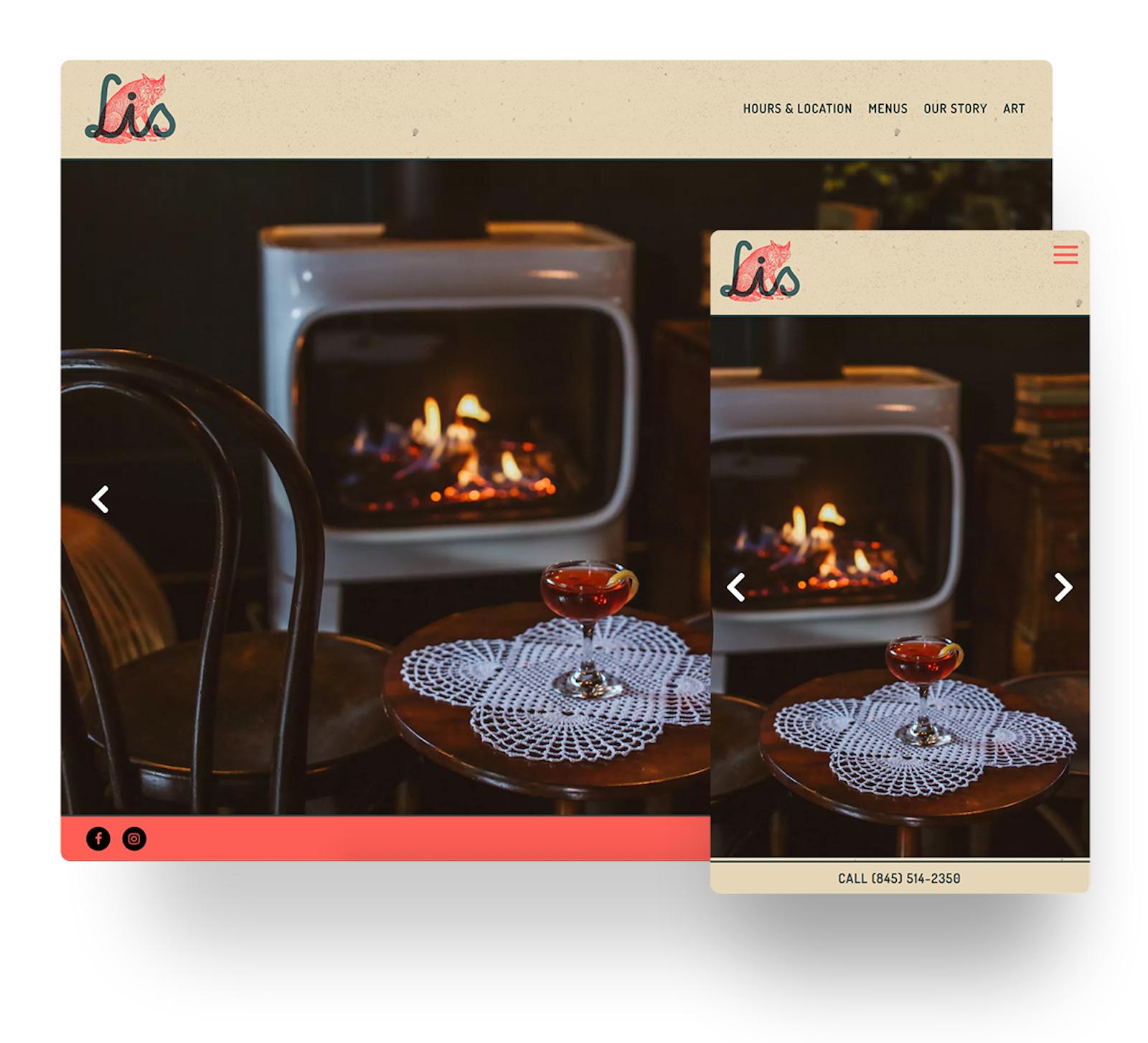 Lis Bar website in mobile and desktop views