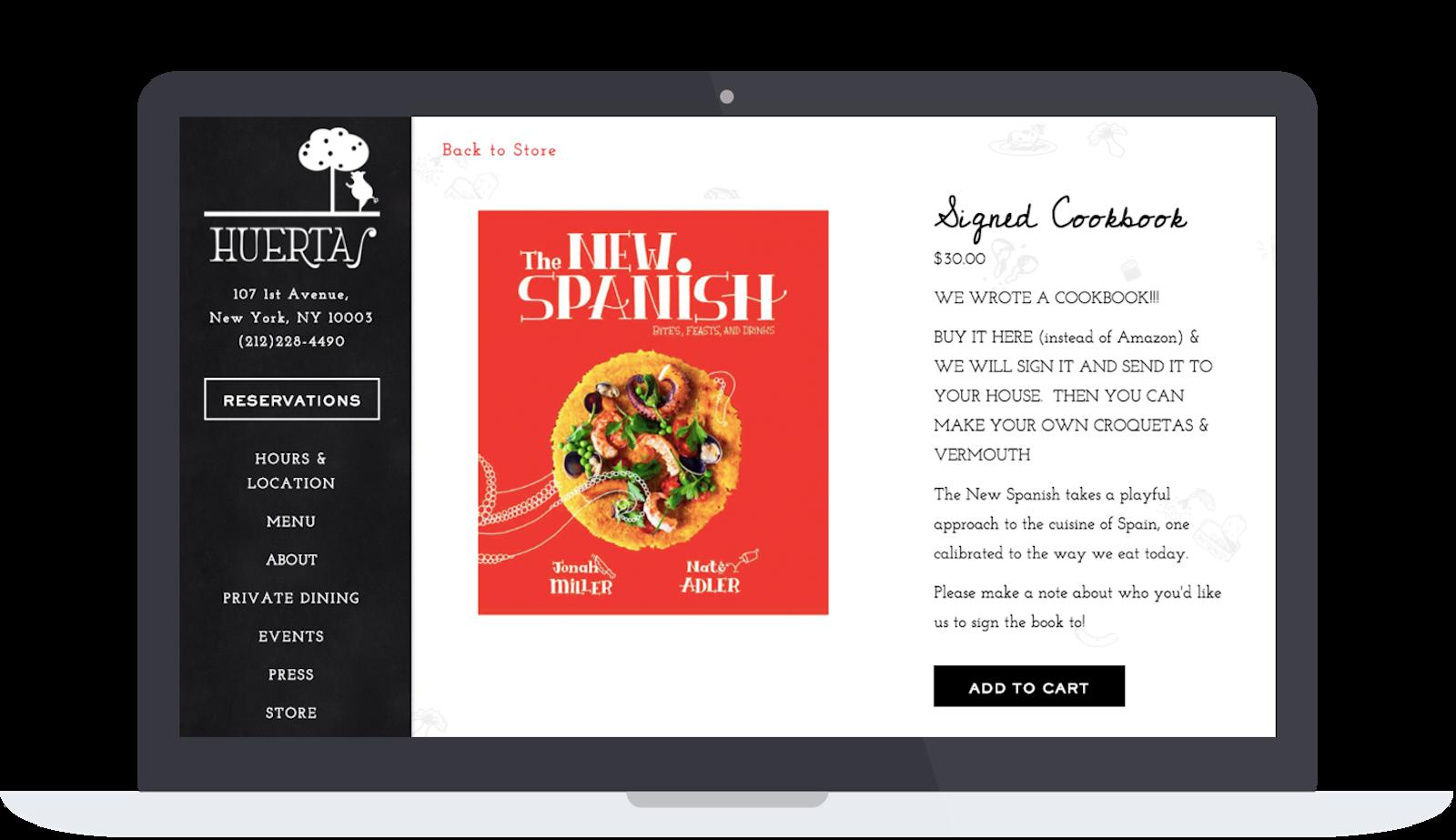 Huertas website selling their cookbook