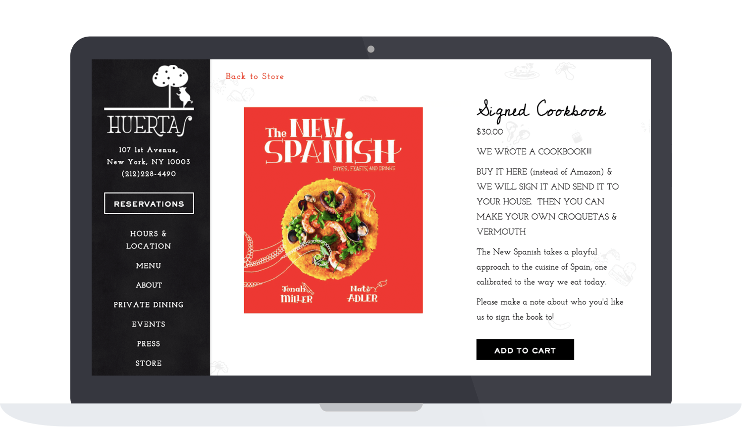 Huertas website selling their cookbook