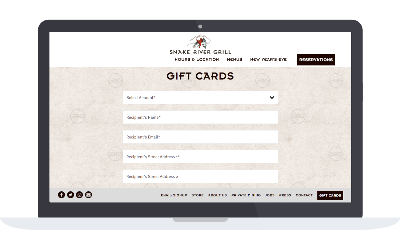 Snake River Grill gift card page