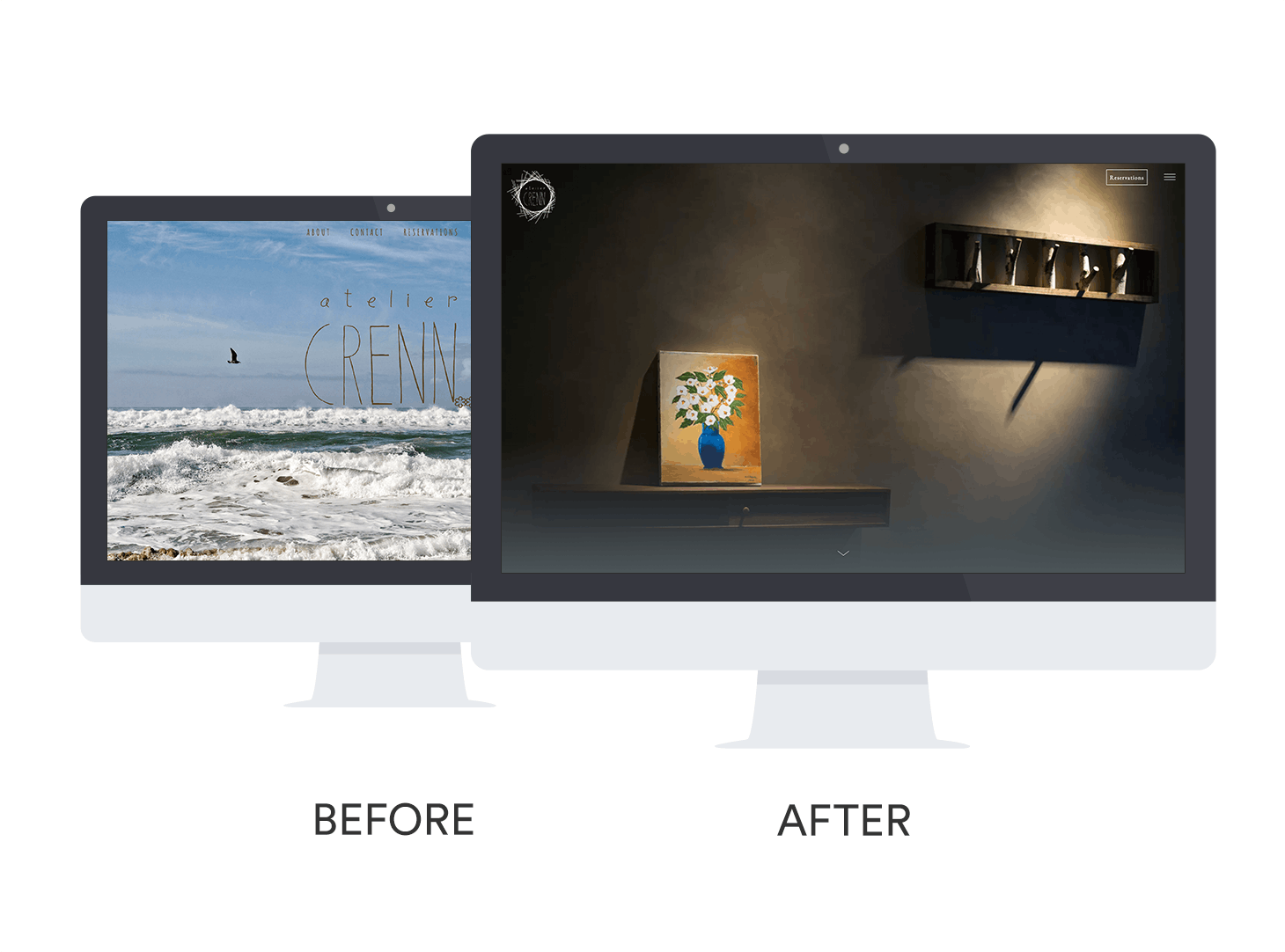 Before and after of Atelier Crenn's website