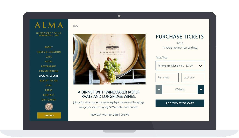Alma Event Page